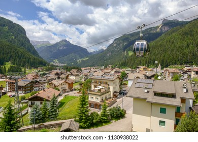Canazei, Italy - 21 June 2018: Village of Canazei on Fassa valley in Trentino Alto Adige, Italy