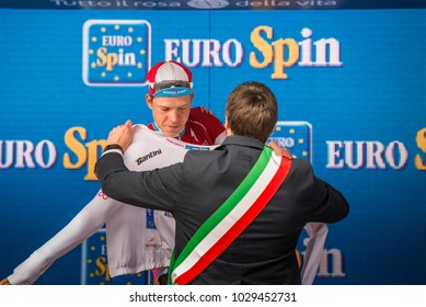 Canazei, Italy May 24, 2017: Bob Jungels, in white jersey of the best young rider, on the podium after a hard montain stage of Tour of Italy 2017 that finish in the center of Dolomites.