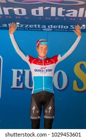 Canazei, Italy May 24, 2017: Bob Jungels on the podium after a hard montain stage of Tour of Italy 2017 that finish in the center of Dolomites.