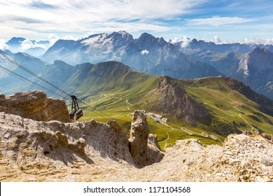 CANAZEI, ITALY - SEPTEMBER 3, 2016: View from Sass Pordoi to Marmolada glacier in the background, Trentino, Dolomites, Italy