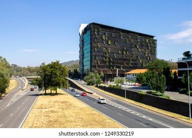 Canberra, ACT, Australia - 01.26.2018: The Nishi building next to the freeway in New Acton, Canberra, ACT, Australia.