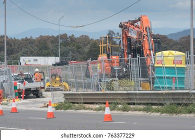 Canberra, ACT, Australia 11 November 2017 - Construction work on the new light rail line along Flemington road in Canberra, Australia