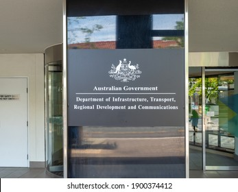Canberra ACT Australia - November 19th 2020 - Australian Government Department of Transport Sign on a sunny Spring Afternoon