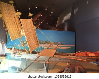 Canberra / Australia - 13th March 2014: Traditional Aboriginal canoe presented in National Museum of Australia