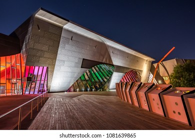 Canberra, Australia - Apr 26, 2018: National Museum of Australia at night
