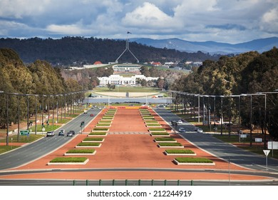 canberra australia capital view from war museum to parliament house