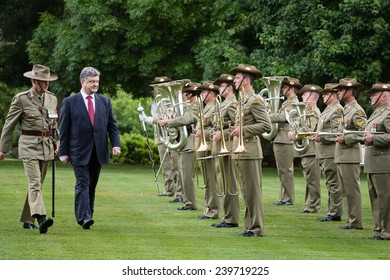 CANBERRA, AUSTRALIA - DECEMBER 11, 2014: Guard of honor during an official welcoming ceremony of President of Ukraine Petro Poroshenko and Governor-General of Australia, Peter John Cosgrove