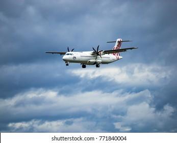 Canberra, Australia - December 4, 2017: Virgin Australia ATR 72 VH-VPI on approach to Canberra Airport