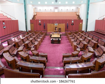 CANBERRA, AUSTRALIA - FEB 06, 2014: Interior view of Australian Senate in Parliament of Australia, Canberra, Australia