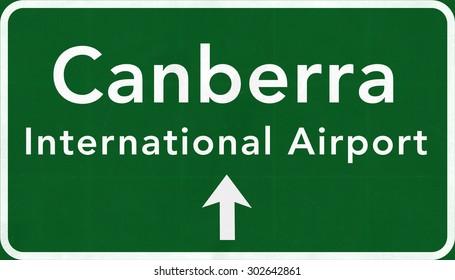 Canberra Australia International Airport Highway Sign 2D Illustration