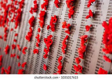 Canberra, Australia - Jan 18, 2015. Poppy wall lists the names of all the Australians who died in service of armies. The red poppy has become a symbol of war remembrance (ANZAC Day) the world over.