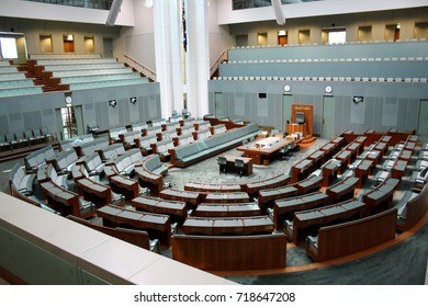 CANBERRA, AUSTRALIA – JANUARY 23 2014: The House of Representatives Chamber at Australia's Parliament House in Canberra sits empty.