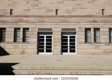 CANBERRA, AUSTRALIA - JULY 20, 2010: The formal concept in a facade design of the Australian War Memorial