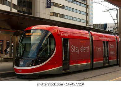 Canberra, Australia - July 3rd 2019: A Light Rail Vehicle in Canberra. Front and side view of a Canberra Metro Light Rail Vehicle, stopped at Alinga Street.