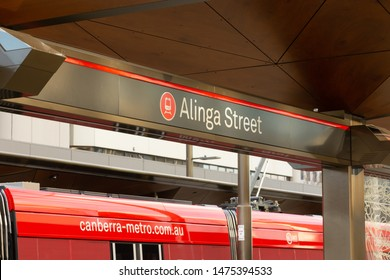 Canberra, Australia - July 3rd 2019: Signage for Canberra Metro's Alinga Street tram stop, in Canberra Civic.