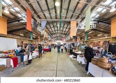Canberra, Australia - June 11, 2017: Old Bus Depot Markets every Sunday for lovers of fine hand-crafted wares, clothing collectors, food fanatics and jewellery junkies.