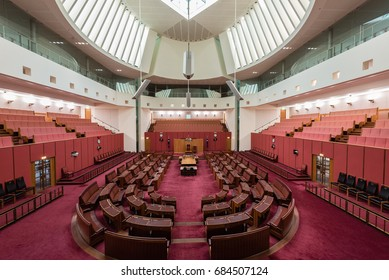 Canberra, Australia - June 11, 2017: The Interiors of the the Australian Senate of the Parliament House.