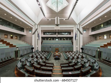Canberra, Australia - June 11, 2017: The Interiors of the House of Representatives chamber of the Parliament House where federal laws are debated and voted by members.