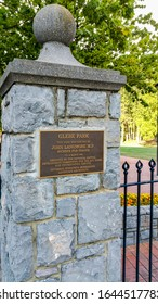Canberra, Australia - Mar 12, 2017: Entrance granite gateway post to Glebe Park. A plaque displays background information to the historical venue.