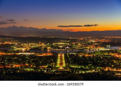 CANBERRA, AUSTRALIA - MAR 24: Cityscape of Canberra at twilight on Mar 24, 2015 in Canberra. It was selected for the location of the nation's capital in 1908.