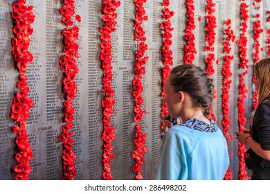 CANBERRA, AUSTRALIA - MAR 25: Names of fallen soldiers in the Wall of Remembrance at The Australian War Memorial on Mar 25, 2015 in Canberra.