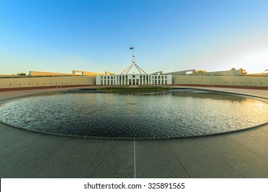CANBERRA, AUSTRALIA - MAR 26: Parliament house of Australia on Mar 26, 2015 in Canberra. It's the meeting facility of the Parliament of Australia located in Canberra, the capital of Australia.
