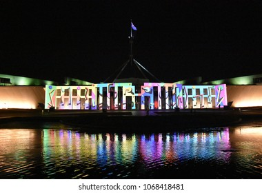Canberra, Australia - March 10, 2018. A projection on the Parliament House of Australia during the 2018 Enlighten festival in Canberra.