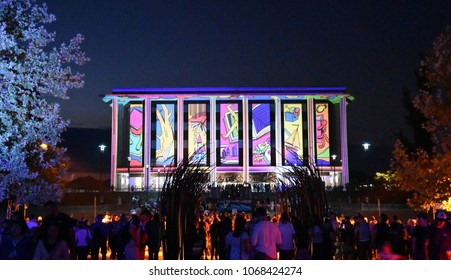Canberra, Australia - March 10, 2018. A projection on the National Library of Australia during the 2018 Enlighten festival in Canberra.