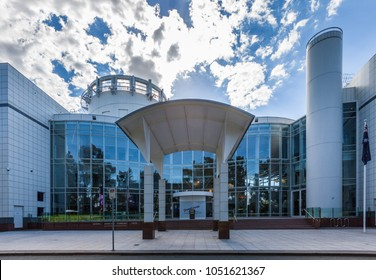 Canberra, Australia - March 12, 2018:  Main Entrance to the Questacon in Canberra - Children's museum of science and technology