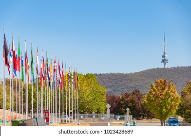 Canberra, Australia - March 7, 2009: Flag display with view of Telecom Tower in Canberra
