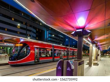 Canberra, Australia November 11 2019: Canberra light rail network is a modern transport system serving the city of Canberra, Australia.