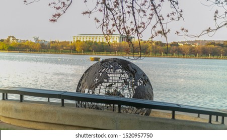 CANBERRA, AUSTRALIA – October 2, 2019: Captain Cook Memorial Globe sculpture commemorates the Bicentenary of Captain James Cook's first sighting of Australia in Barton, Canberra