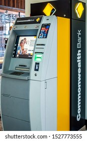 Canberra, Australia - Sep 2, 2018: Automatic Teller Machine (ATM) booth of the Commonwealth Bank of Australia (CBA) at the entrance of the Canberra Centre. CBA is the largest bank in Australia.