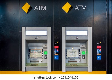 Canberra, Australia - Sep 2, 2018: Twin Automatic Teller Machine (ATM) booths of the Commonwealth Bank of Australia (CBA) at the entrance of the Canberra Centre. CBA is the largest bank in Australia.
