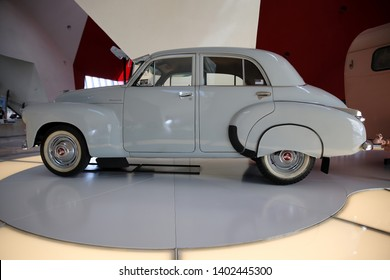 CANBERRA, AUSTRALIAN CAPITOL TERRITORY, AUSTRALIA - 02 APRIL 2019: Historic FJ Holden classic car on display at the Australian National Museum in Canberra.