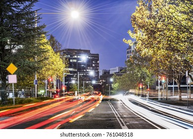 Canberra Central at Dusk with Traffic Lights