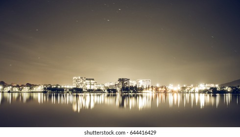 Canberra city lights over the lake at night