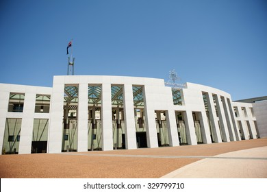 CANBERRA - DECEMBER 20:Australian Parliament House view on December 20, 2015 in Canberra, Australia. The building was designed by Mitchell Giurgola Architects and opened on 9 May 1988 by Elizabeth II.