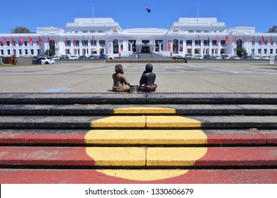 CANBERRA - FEB 22 2019:The Aboriginal Tent Embassy in Canberra Parliamentary Zone Australia Capital Territory. Activists claim to represent the political rights of Aboriginal Australians.