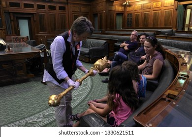 CANBERRA - FEB 22 2019:Visitors in the House of Representatives chamber at the Old Parliament House in Canberra Parliamentary Zone Australia Capital Territory