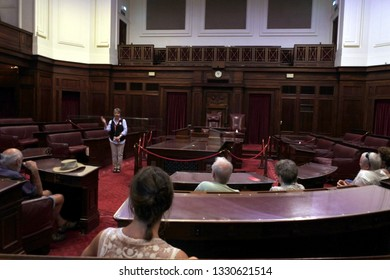 CANBERRA - FEB 22 2019:Visitors in the The Senate chamber at the Old Parliament House in Canberra Parliamentary Zone Australia Capital Territory
