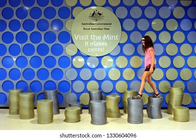 CANBERRA -  FEB 27 2019:Young tourist girl (Talya Ben Ari age 08) visit at building of the Royal Australian Mint.The Royal Australian Mint is the sole producer of all of Australia's circulating coins.
