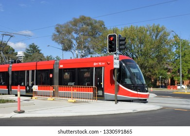 CANBERRA -  MAR 01 2019:Light rail in Canberra Australia Capital Territory.The Canberra light rail network is an under-construction light rail system to serve the city of Canberra, Australia.
