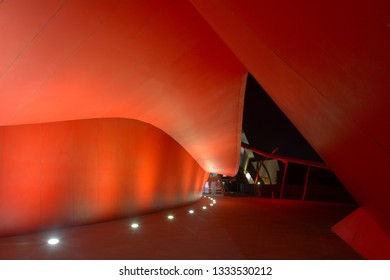 CANBERRA - MAR 27 2019:National Museum of Australia Canberra at night at the Australian Capital Territory.The museum holds the world's largest collection of Aboriginal bark paintings and stone tool.