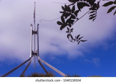 Canberra, NSW / Australia - Jan 3, 2018: Nice view of Flagpole on Australian Parliament
