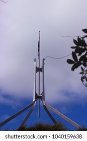 Canberra, NSW / Australia - Jan 3, 2018: Nice view of Flagpole on Australian Parliament Building