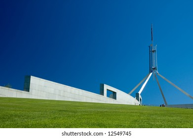 Canberra Parliament House abstract shapes, clear blue sky
