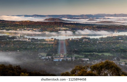 Canberra parliamentary triangle in spring