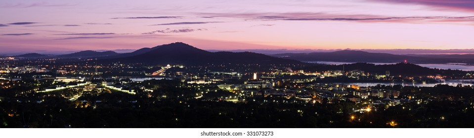 Canberra - sunrise panorama with the Parilament of Australia.
