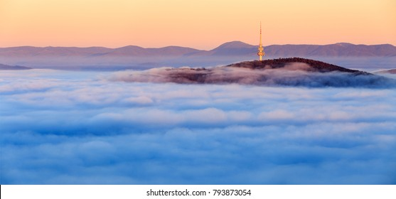 Canberra Tower over the fog